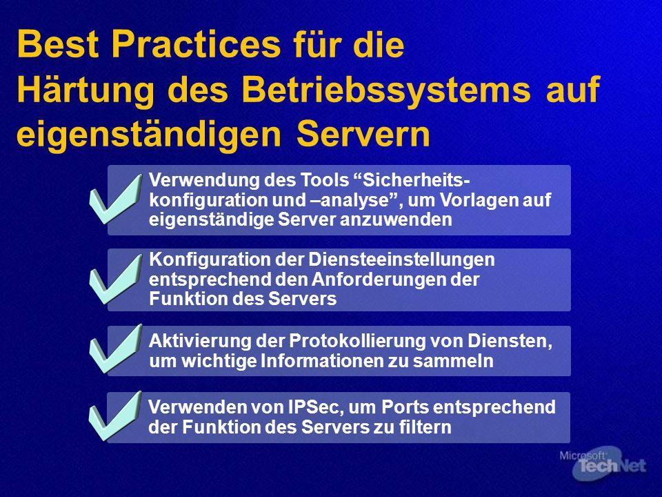 Best Practices für die Härtung des Betriebssystems auf eigenständigen Servern Verwendung des Tools Sicherheits- konfiguration und –analyse, um Vorlagen auf eigenständige Server anzuwenden Konfiguration der Diensteeinstellungen entsprechend den Anforderungen der Funktion des Servers Aktivierung der Protokollierung von Diensten, um wichtige Informationen zu sammeln Verwenden von IPSec, um Ports entsprechend der Funktion des Servers zu filtern