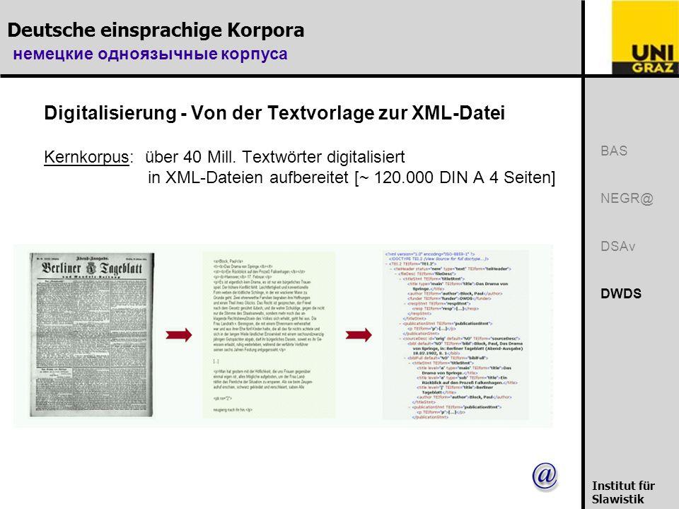 Deutsche einsprachige Korpora немецкие одноязычные корпуса Institut für Slawistik BAS NEGR@ DSAv DWDS Online-Recherche mit Anmeldung: Textkorpus 102 Mio.