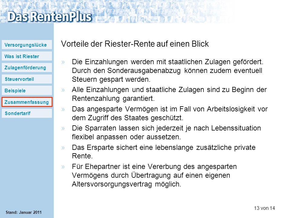 Versorgungslücke Was ist Riester Zulagenförderung Steuervorteil Beispiele Zusammenfassung Sondertarif 13 von 14 Stand: Januar 2011 Vorteile der Rieste