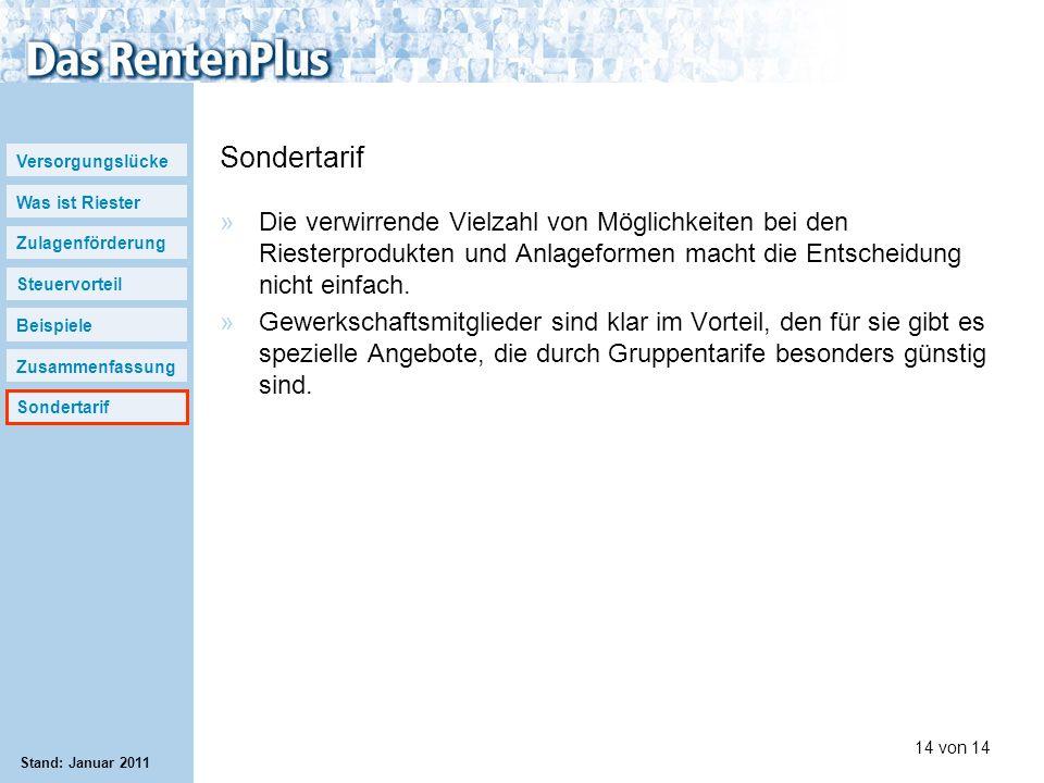 Versorgungslücke Was ist Riester Zulagenförderung Steuervorteil Beispiele Zusammenfassung Sondertarif 14 von 14 Stand: Januar 2011 Sondertarif »Die ve
