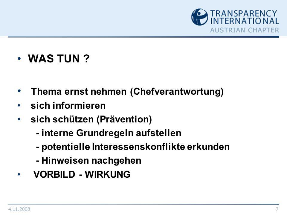4.11.20088 TRANSPARENCY INTERNATIONAL www.transparency.org Internationale Antikorruptionsorganisation NGO (Nichtregierungs-Organisation) 1993 von Prof.