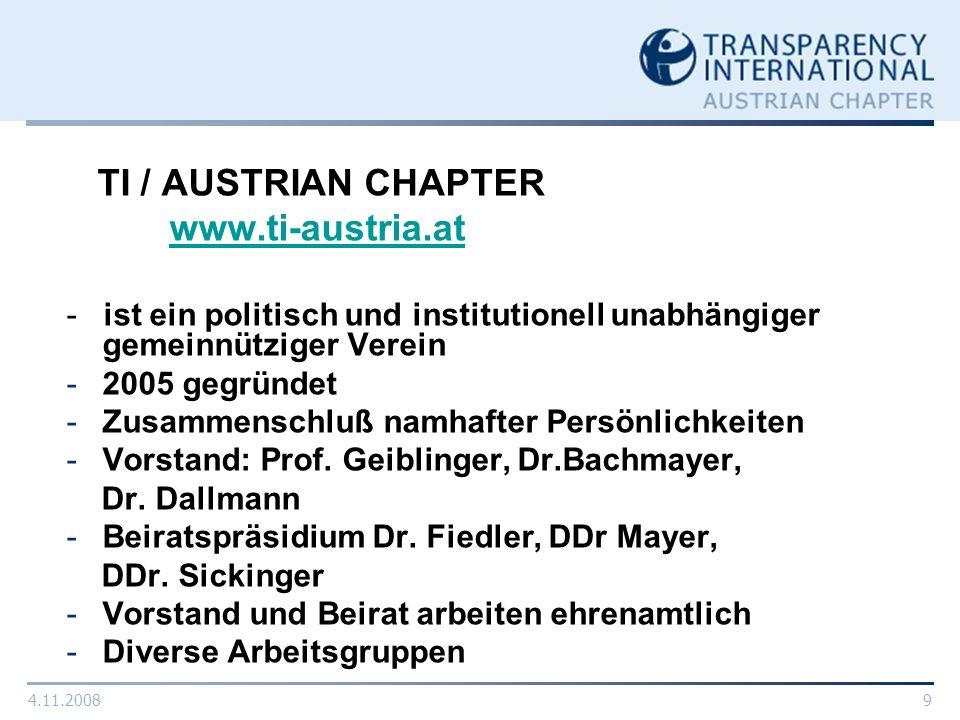 4.11.20089 TI / AUSTRIAN CHAPTER www.ti-austria.at - ist ein politisch und institutionell unabhängiger gemeinnütziger Verein -2005 gegründet -Zusammen