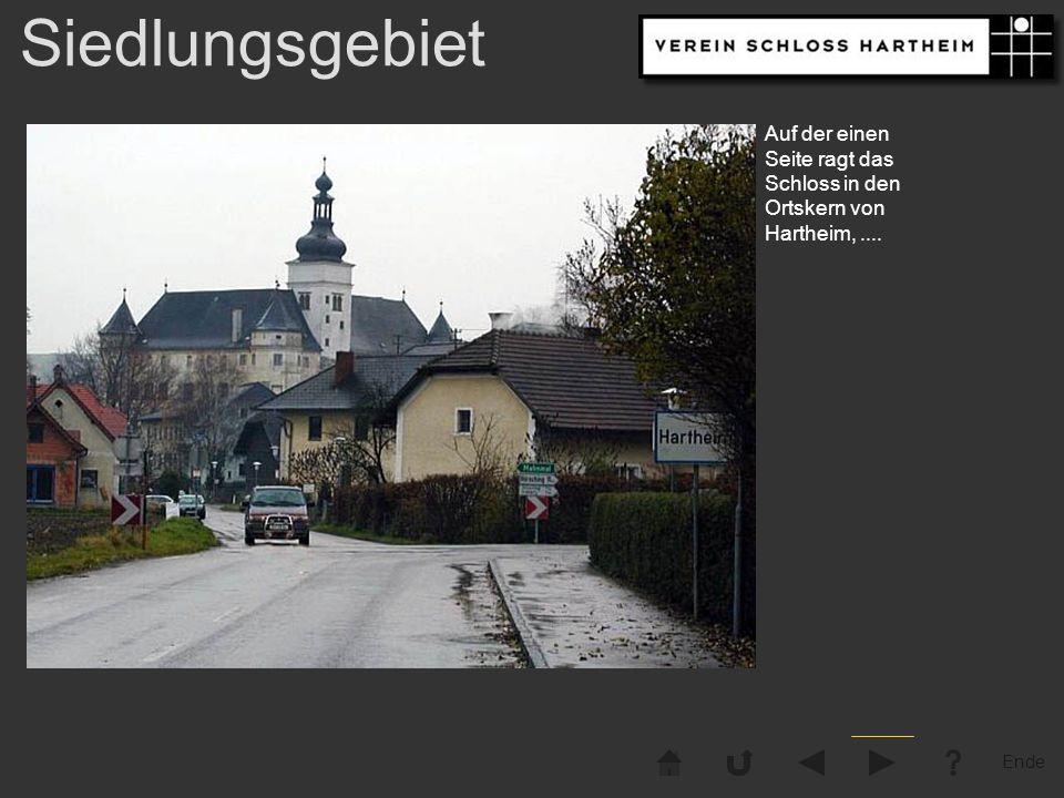 Ende Siedlungsgebiet Auf der einen Seite ragt das Schloss in den Ortskern von Hartheim,....