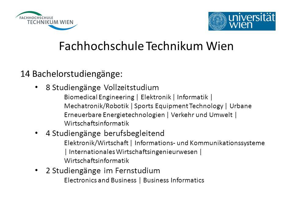 Fachhochschule Technikum Wien 14 Bachelorstudiengänge: 8 Studiengänge Vollzeitstudium Biomedical Engineering | Elektronik | Informatik | Mechatronik/R