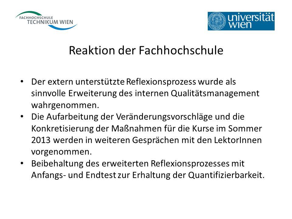 Reaktion der Fachhochschule Der extern unterstützte Reflexionsprozess wurde als sinnvolle Erweiterung des internen Qualitätsmanagement wahrgenommen. D