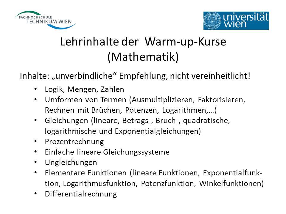 Lehrinhalte der Warm-up-Kurse (Mathematik) Inhalte: unverbindliche Empfehlung, nicht vereinheitlicht! Logik, Mengen, Zahlen Umformen von Termen (Ausmu