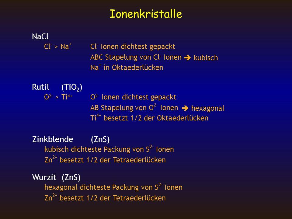 Ionenkristalle NaCl Cl - > Na + Cl - Ionen dichtest gepackt Cl - > Na + Cl - Ionen dichtest gepackt ABC Stapelung von Cl - Ionen Na + in Oktaederlücke