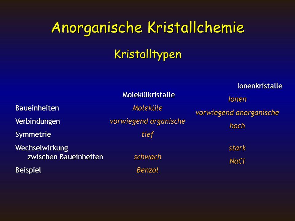 Kristalltypen IonenkristalleIonen vorwiegend anorganische hochstarkNaCl Molekülkristalle BaueinheitenMoleküle Verbindungenvorwiegend organische Symmet