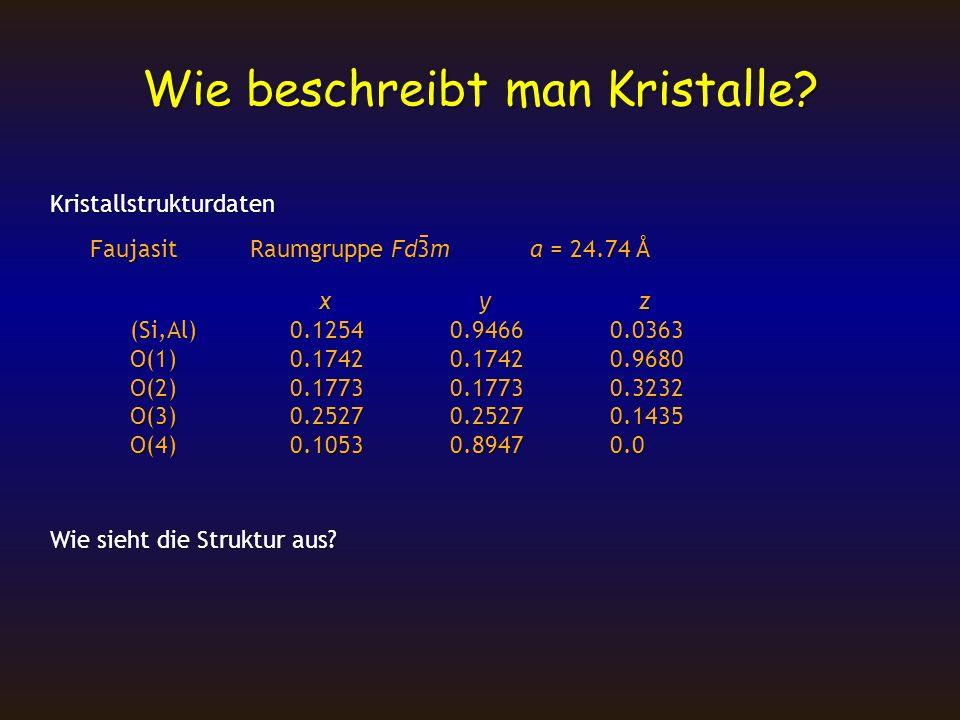 Wie beschreibt man Kristalle? Kristallstrukturdaten FaujasitRaumgruppe Fd3ma = 24.74 Å x y z x y z (Si,Al)0.12540.94660.0363 O(1)0.17420.17420.9680 O(