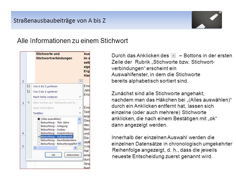 Alle Informationen zu einem Stichwort Durch das Anklicken des – Bottons in der ersten Zeile der Rubrik Stichworte bzw. Stichwort- verbindungen erschei