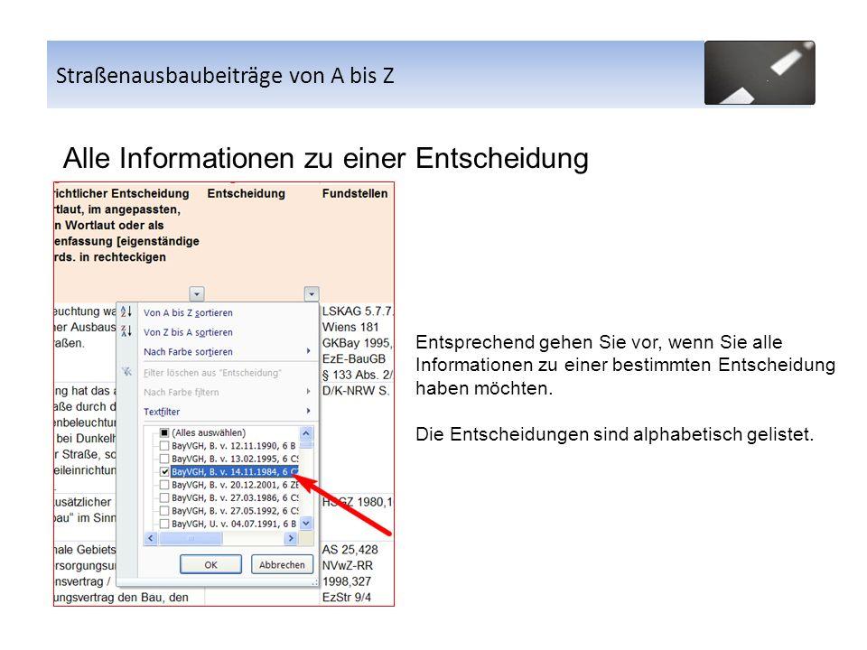 Alle Informationen zu einer Entscheidung Straßenausbaubeiträge von A bis Z Entsprechend gehen Sie vor, wenn Sie alle Informationen zu einer bestimmten