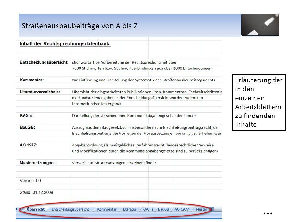 Straßenausbaubeiträge von A bis Z Erläuterung der in den einzelnen Arbeitsblättern zu findenden Inhalte … Straßenausbaubeiträge von A bis Z