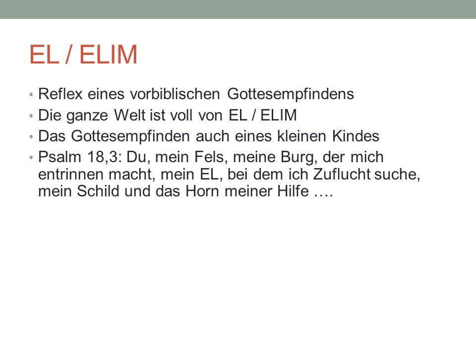 EL / ELIM Reflex eines vorbiblischen Gottesempfindens Die ganze Welt ist voll von EL / ELIM Das Gottesempfinden auch eines kleinen Kindes Psalm 18,3: