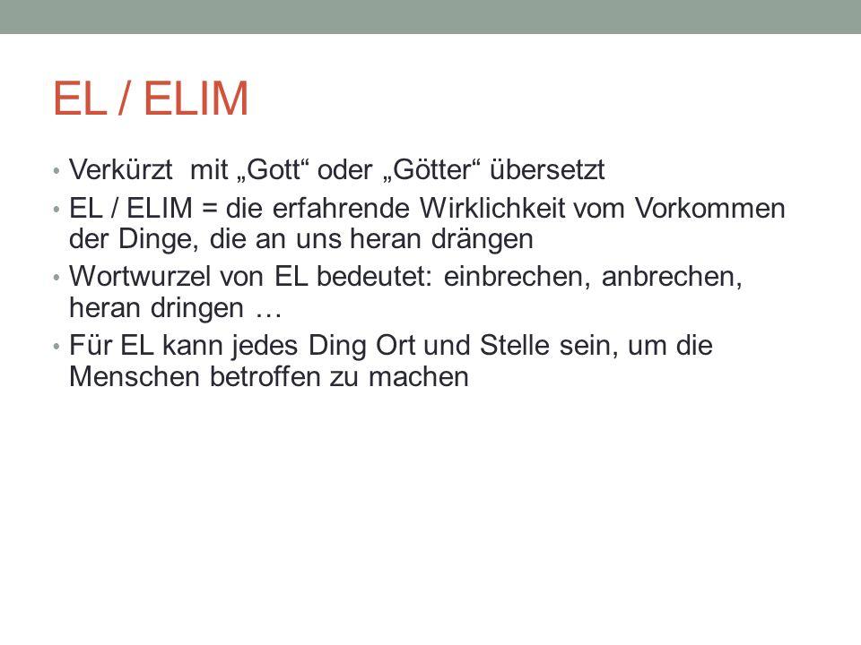 EL / ELIM Verkürzt mit Gott oder Götter übersetzt EL / ELIM = die erfahrende Wirklichkeit vom Vorkommen der Dinge, die an uns heran drängen Wortwurzel