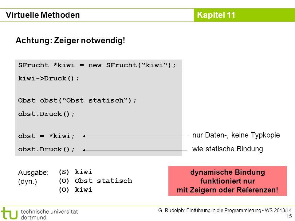 Kapitel 11 G. Rudolph: Einführung in die Programmierung WS 2013/14 15 Achtung: Zeiger notwendig.