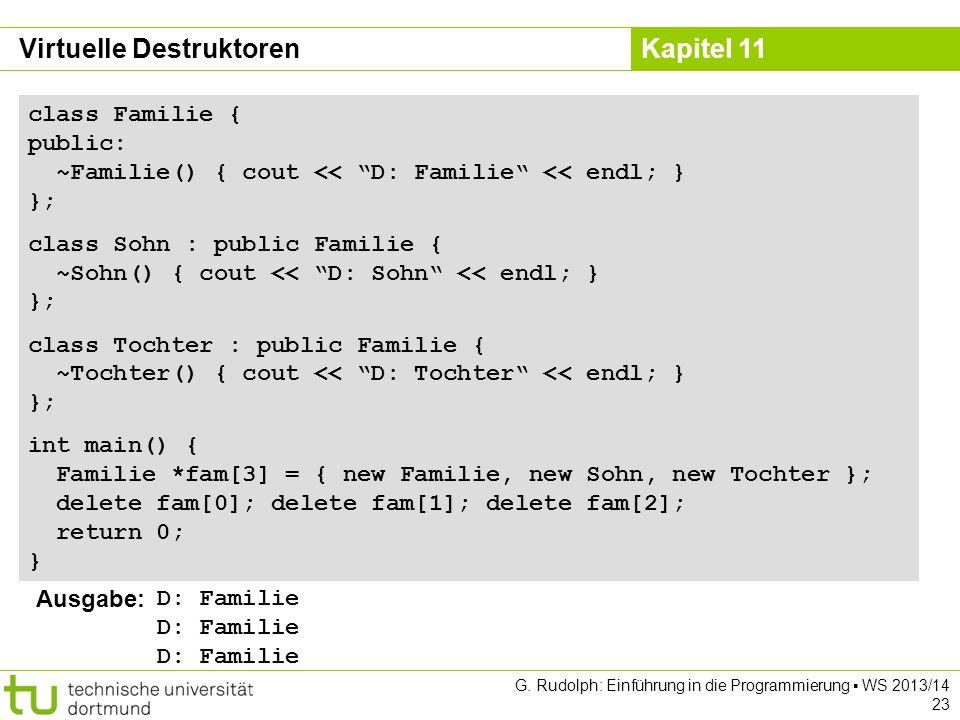 Kapitel 11 G. Rudolph: Einführung in die Programmierung WS 2013/14 23 class Familie { public: ~Familie() { cout << D: Familie << endl; } }; class Sohn