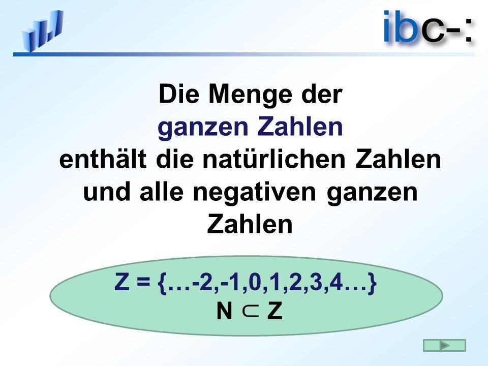 Die Menge der ganzen Zahlen enthält die natürlichen Zahlen und alle negativen ganzen Zahlen Z = {…-2,-1,0,1,2,3,4…} N Z