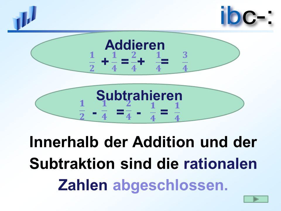 Innerhalb der Addition und der Subtraktion sind die rationalen Zahlen abgeschlossen. Addieren + = + = Subtrahieren - = - =