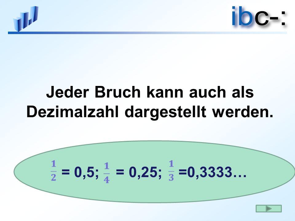 Jeder Bruch kann auch als Dezimalzahl dargestellt werden. = 0,5; = 0,25; =0,3333…