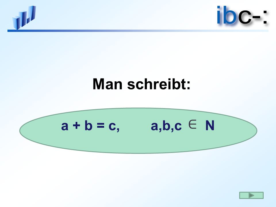 Man schreibt: a + b = c, a,b,c N