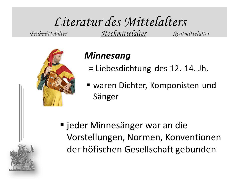 Literatur des Mittelalters Frühmittelalter Hochmittelalter Spätmittelalter Minnesang = Liebesdichtung des 12.-14. Jh. waren Dichter, Komponisten und S
