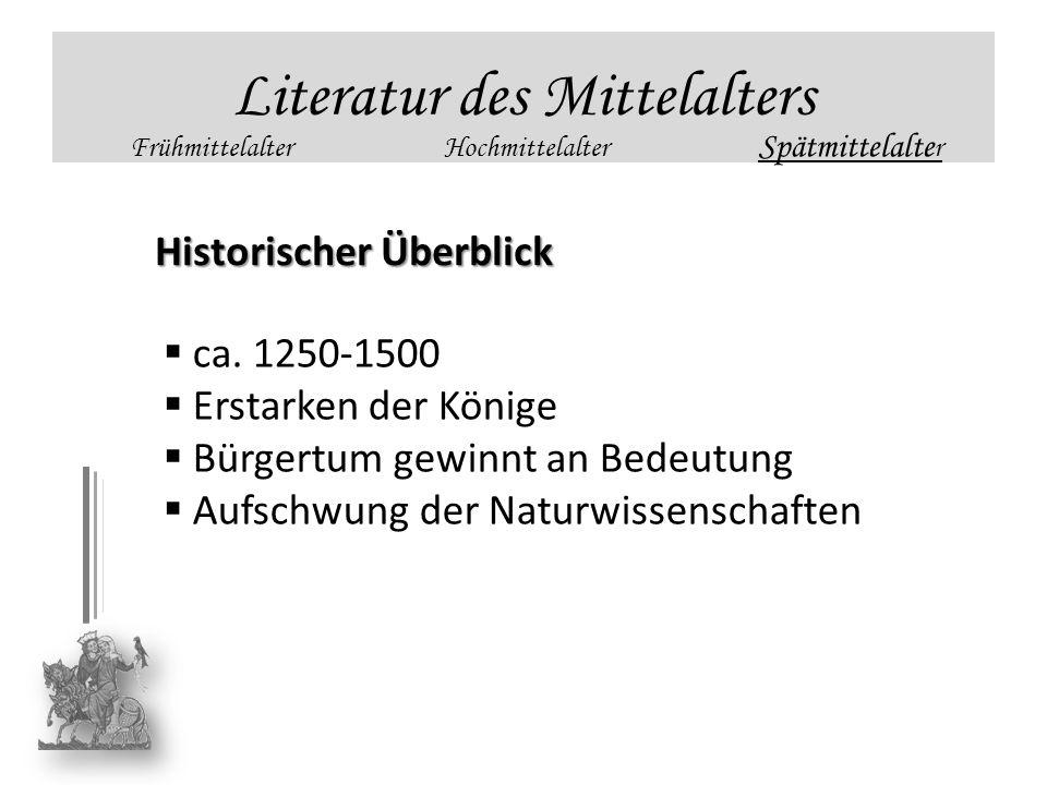 Literatur des Mittelalters FrühmittelalterHochmittelalter Spätmittelalte r Historischer Überblick ca. 1250-1500 Erstarken der Könige Bürgertum gewinnt