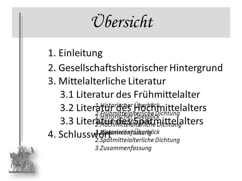 Übersicht 1. Einleitung 4. Schlusswort 2. Gesellschaftshistorischer Hintergrund 3. Mittelalterliche Literatur 3.1 Literatur des Frühmittelalter 3.2 Li