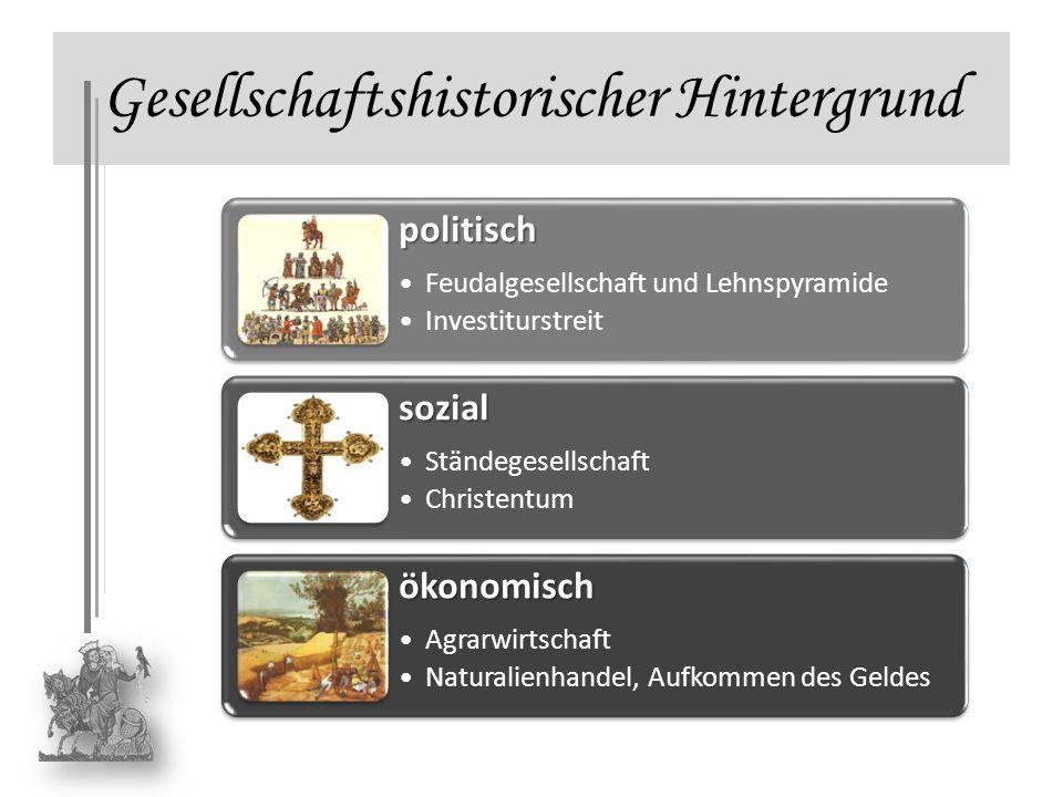 Gesellschaftshistorischer Hintergrundpolitisch Feudalgesellschaft und Lehnspyramide Investiturstreit sozial Ständegesellschaft Christentum ökonomisch