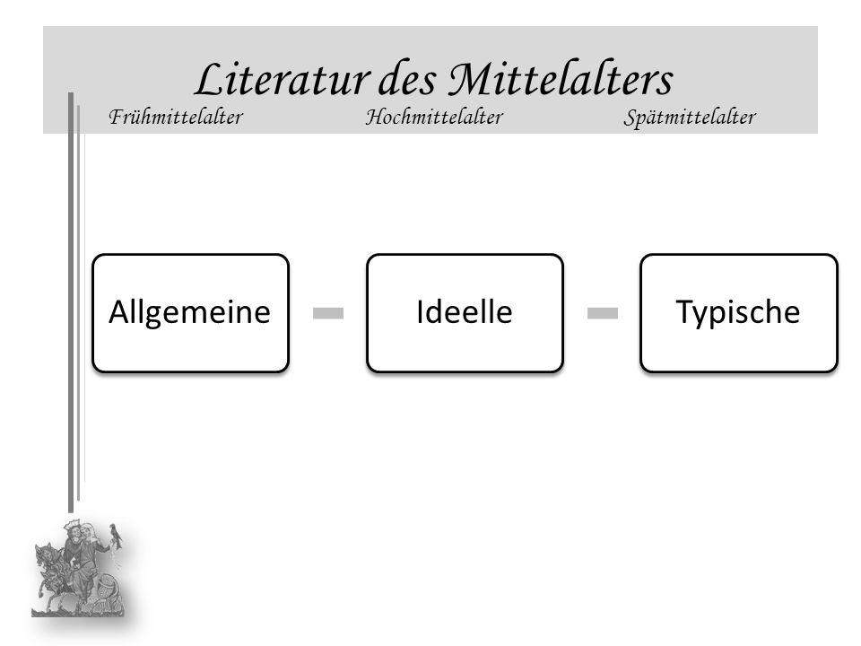 AllgemeineIdeelleTypische Literatur des Mittelalters FrühmittelalterHochmittelalterSpätmittelalter