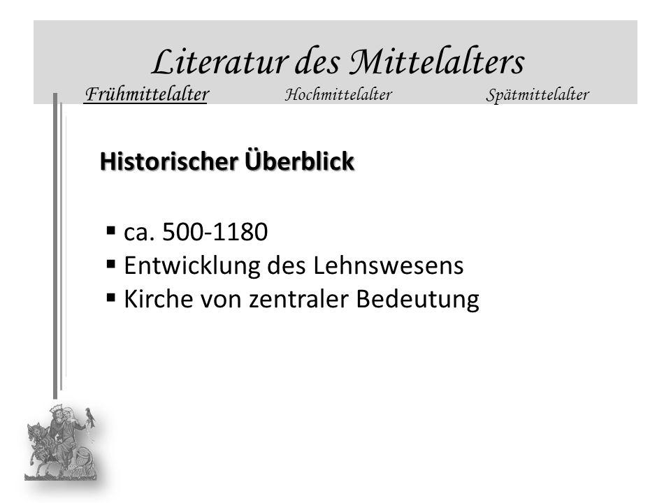 Literatur des Mittelalters Frühmittelalter HochmittelalterSpätmittelalter Historischer Überblick ca. 500-1180 Entwicklung des Lehnswesens Kirche von z