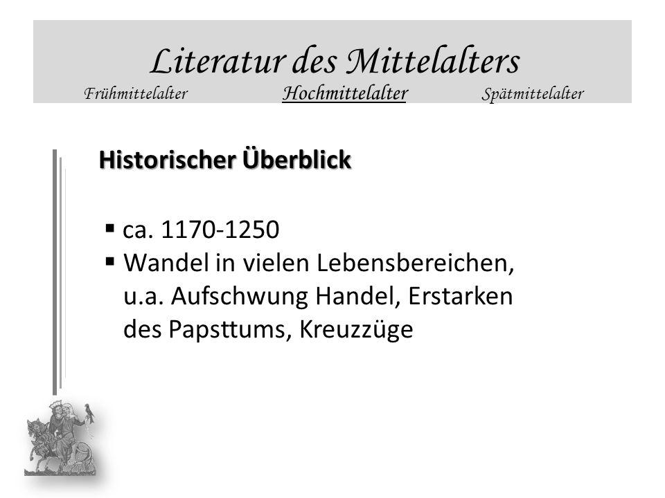 Literatur des Mittelalters Frühmittelalter Hochmittelalter Spätmittelalter Historischer Überblick ca. 1170-1250 Wandel in vielen Lebensbereichen, u.a.