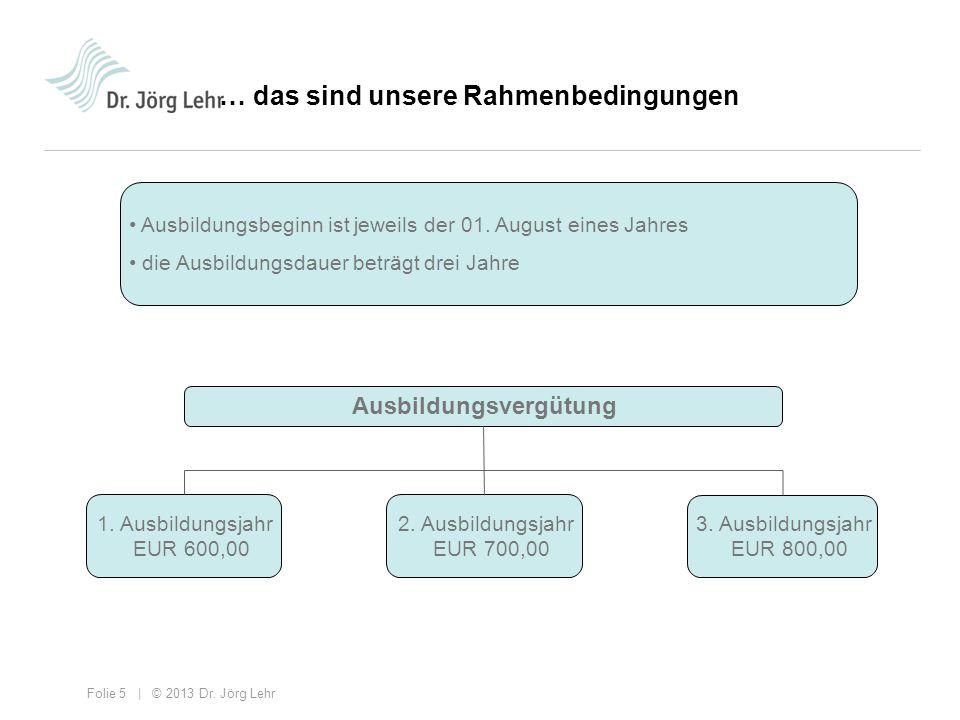 Folie 5 | © 2013 Dr. Jörg Lehr … das sind unsere Rahmenbedingungen Ausbildungsvergütung 1. Ausbildungsjahr EUR 600,00 2. Ausbildungsjahr EUR 700,00 3.