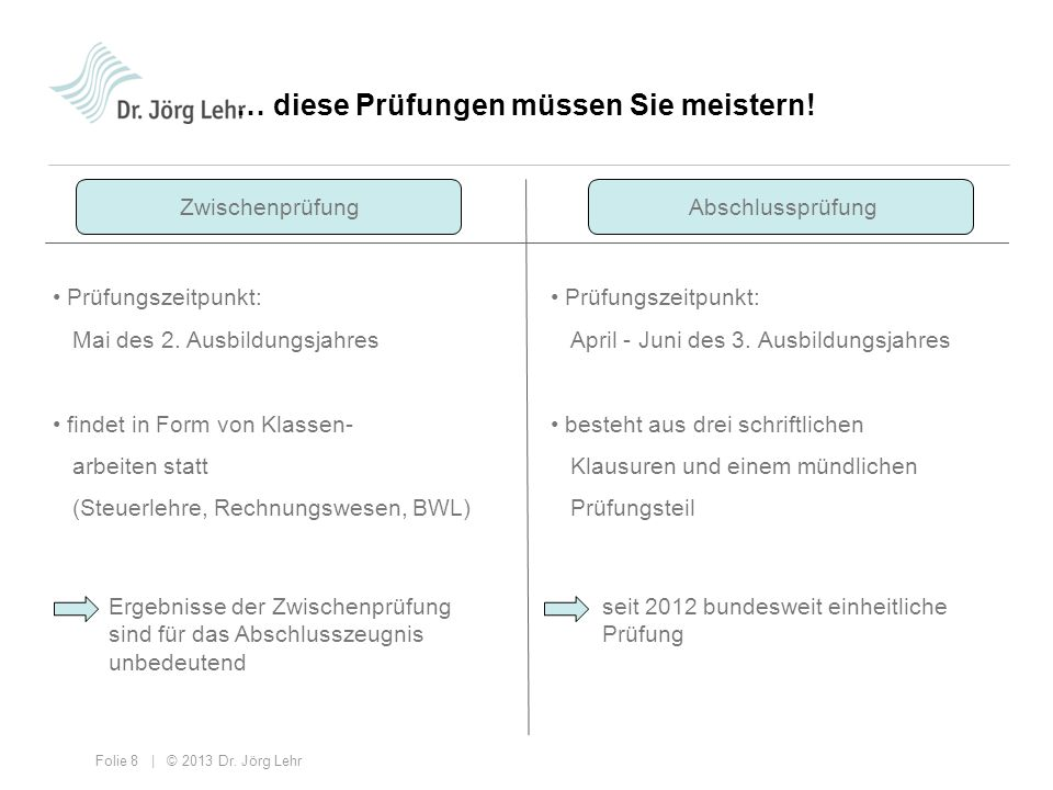 Folie 8 | © 2013 Dr. Jörg Lehr Prüfungszeitpunkt: Mai des 2. Ausbildungsjahres findet in Form von Klassen- arbeiten statt (Steuerlehre, Rechnungswesen