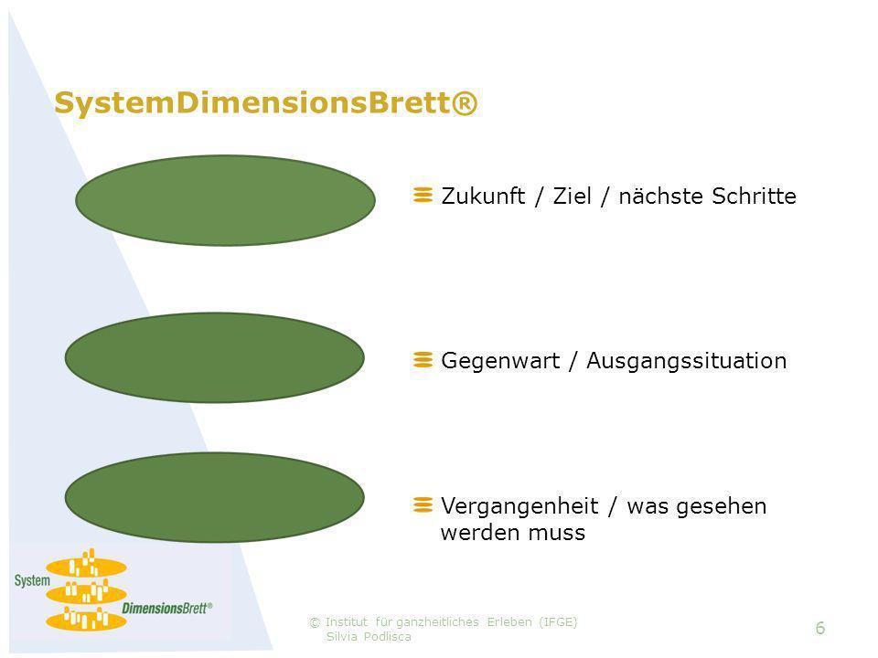 SystemDimensionsBrett® 6 © Institut für ganzheitliches Erleben (IFGE) Silvia Podlisca Zukunft / Ziel / nächste Schritte Vergangenheit / was gesehen ….werden muss Gegenwart / Ausgangssituation