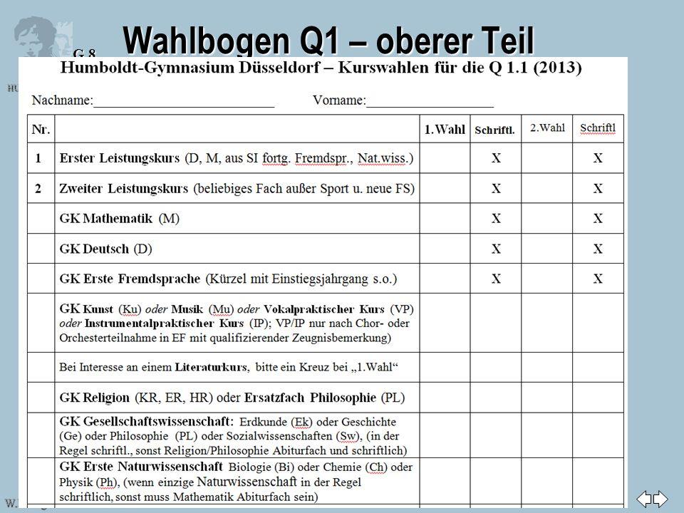 Zurück zur ersten Seite HUMBOLDT-GYMNASIUM DÜSSELDORF W.Pohlig & E. Rammelmann G 8 Folie: 17 Wahlbogen Q1 – oberer Teil