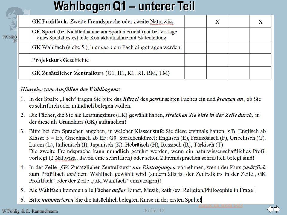 Zurück zur ersten Seite HUMBOLDT-GYMNASIUM DÜSSELDORF W.Pohlig & E. Rammelmann G 8 Folie: 18 Wahlbogen Q1 – unterer Teil