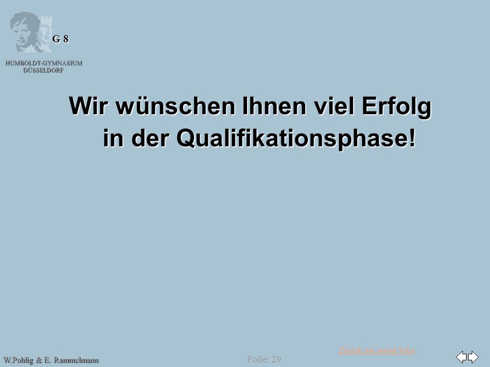 Zurück zur ersten Seite HUMBOLDT-GYMNASIUM DÜSSELDORF W.Pohlig & E. Rammelmann G 8 Folie: 29 Wir wünschen Ihnen viel Erfolg in der Qualifikationsphase