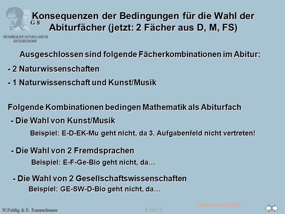 Zurück zur ersten Seite HUMBOLDT-GYMNASIUM DÜSSELDORF W.Pohlig & E. Rammelmann G 8 Folie: 9 Konsequenzen der Bedingungen für die Wahl der Abiturfächer