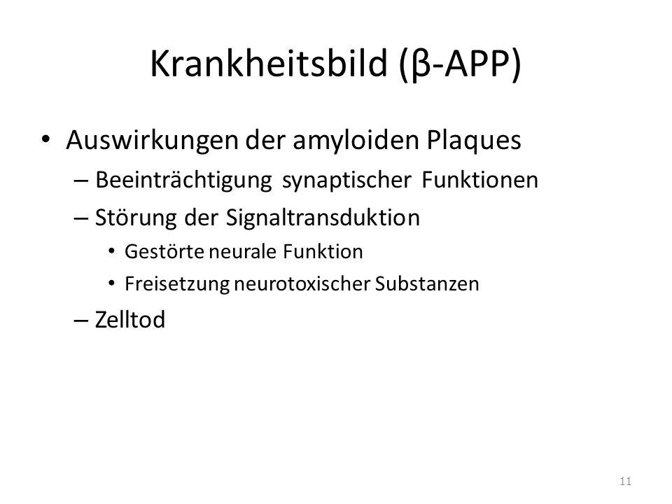 Krankheitsbild (β-APP) Auswirkungen der amyloiden Plaques – Beeinträchtigung synaptischer Funktionen – Störung der Signaltransduktion Gestörte neurale