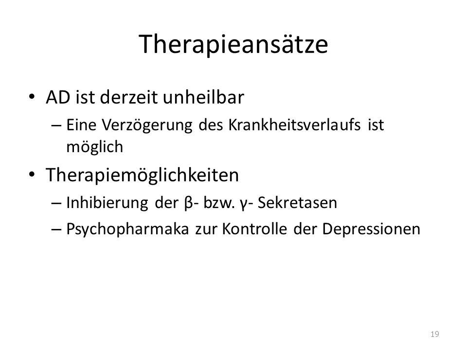 Therapieansätze AD ist derzeit unheilbar – Eine Verzögerung des Krankheitsverlaufs ist möglich Therapiemöglichkeiten – Inhibierung der β- bzw. γ- Sekr