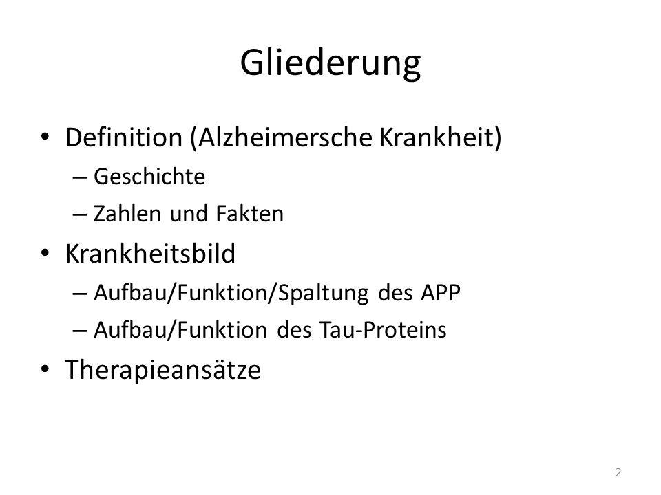Gliederung Definition (Alzheimersche Krankheit) – Geschichte – Zahlen und Fakten Krankheitsbild – Aufbau/Funktion/Spaltung des APP – Aufbau/Funktion d