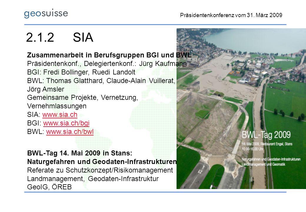 Präsidentenkonferenz vom 31. März 2009 2.1.2SIA Zusammenarbeit in Berufsgruppen BGI und BWL Präsidentenkonf., Delegiertenkonf.: Jürg Kaufmann BGI: Fre