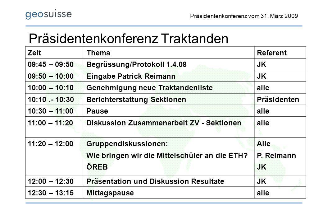 Präsidentenkonferenz vom 31. März 2009 Präsidentenkonferenz Traktanden ZeitThemaReferent 09:45 – 09:50Begrüssung/Protokoll 1.4.08JK 09:50 – 10:00Einga