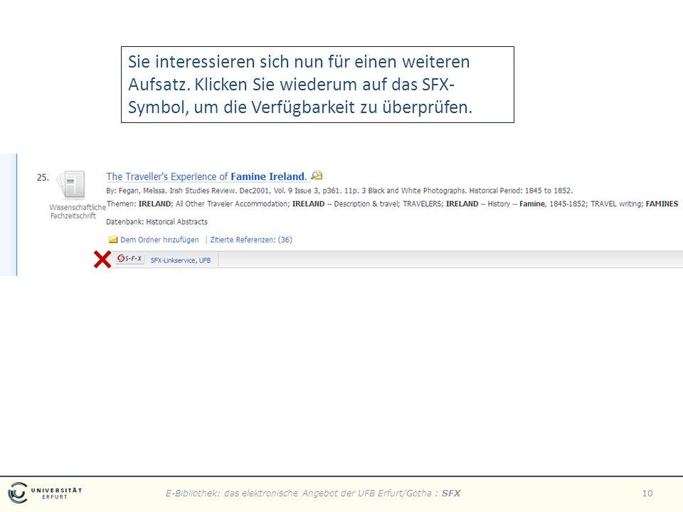 E-Bibliothek: das elektronische Angebot der UFB Erfurt/Gotha : SFX10 Sie interessieren sich nun für einen weiteren Aufsatz.