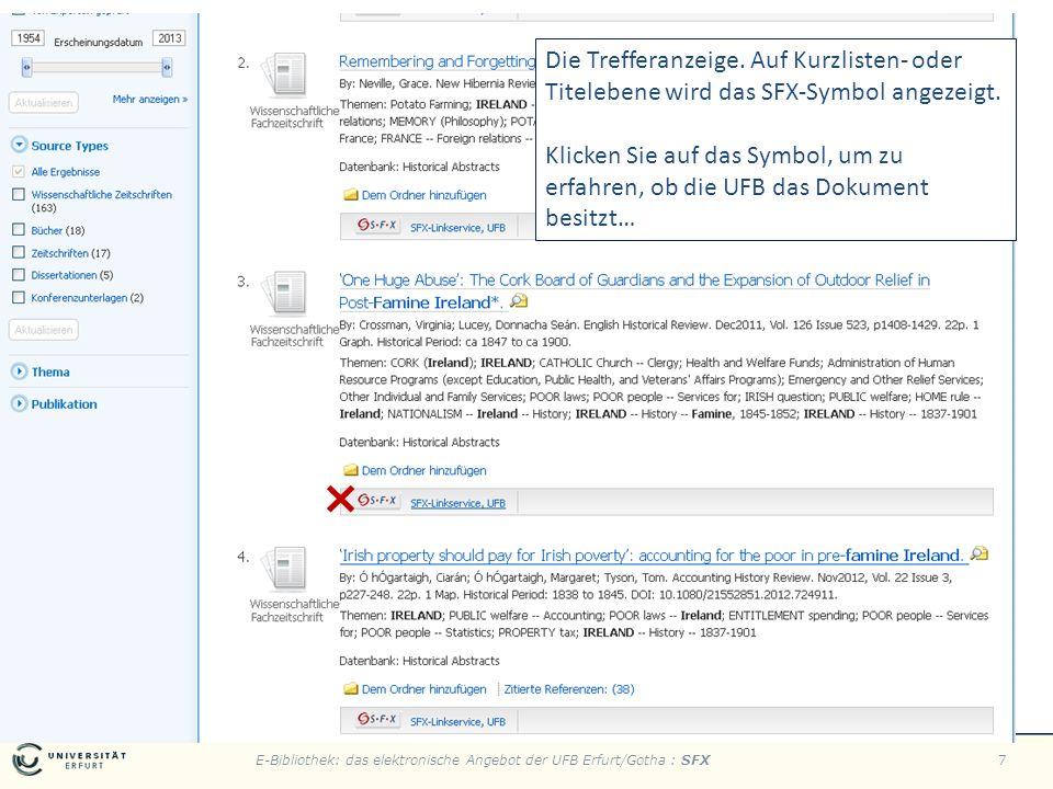 E-Bibliothek: das elektronische Angebot der UFB Erfurt/Gotha : SFX7 Die Trefferanzeige.