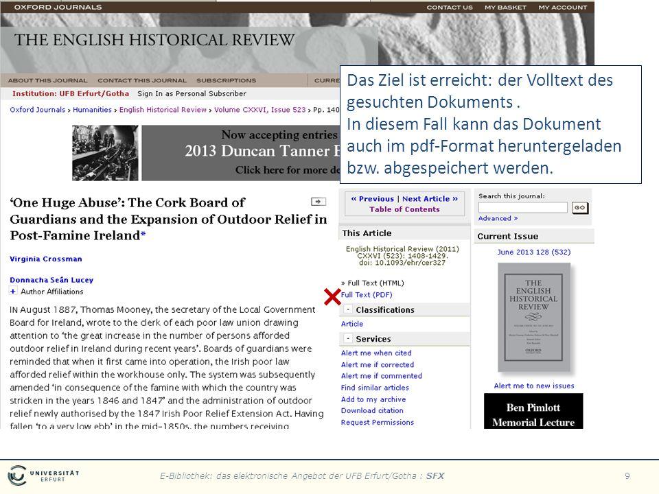 E-Bibliothek: das elektronische Angebot der UFB Erfurt/Gotha : SFX9 Das Ziel ist erreicht: der Volltext des gesuchten Dokuments.