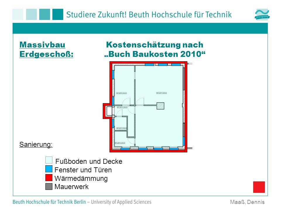 Kostenschätzung nach Buch Baukosten 2010 Maaß, Dennis Massivbau Erdgeschoß: Sanierung: Fußboden und Decke Fenster und Türen Wärmedämmung Mauerwerk