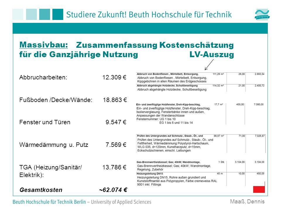 Maaß, Dennis Massivbau: Zusammenfassung Kostenschätzung für die Ganzjährige Nutzung LV-Auszug Abbrucharbeiten: 12.309 Fußboden /Decke/Wände: 18.863 Fe