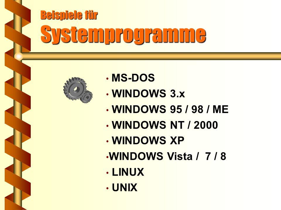 Systemprogramme Betriebssysteme steuern den Programmablauf. teilen Betriebsmittel wie z.B. Rechenzeit, Speicherplatz, Datenkanäle zu. bieten die Mögli