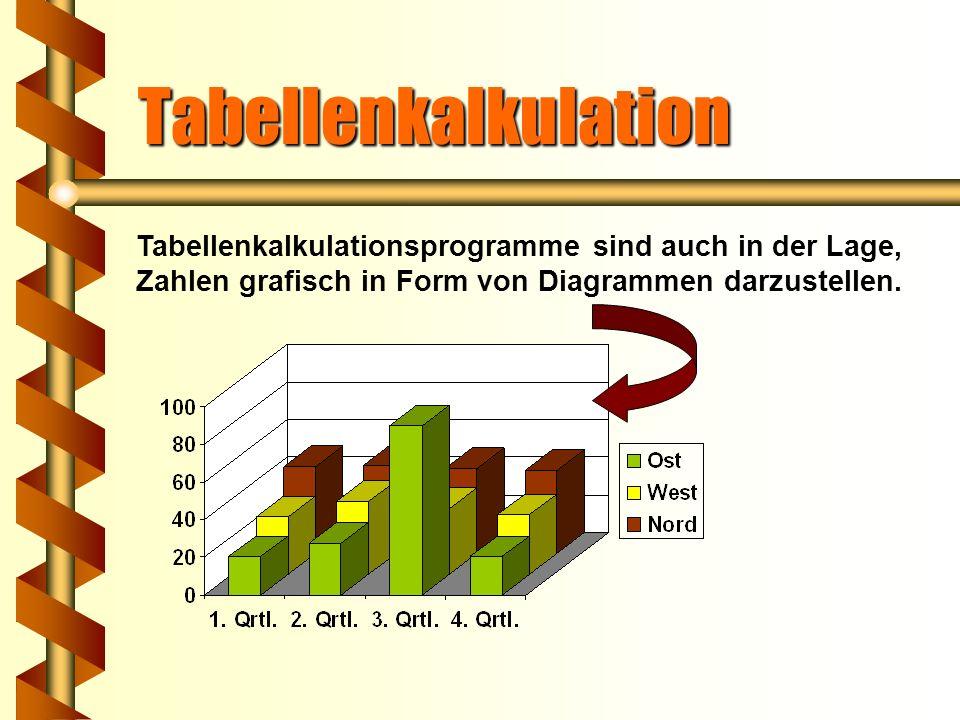 Tabellenkalkulation Es handelt sich um Rechenprogramme, die ein Verfahren verwenden, bei dem in Zeilen und Spalten angeordnete Werte rechnerisch mitei